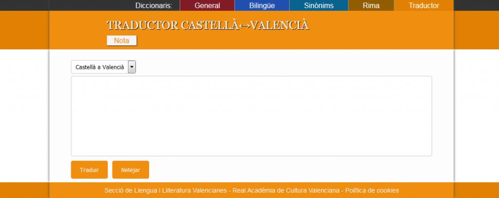 Traductor de texts Castellà a Valencià